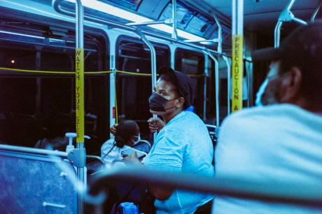 public transit with mask