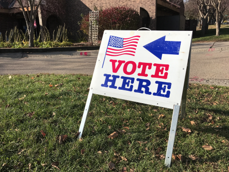 "A sign that reads ""Vote here"" on the grass outside a polling place"