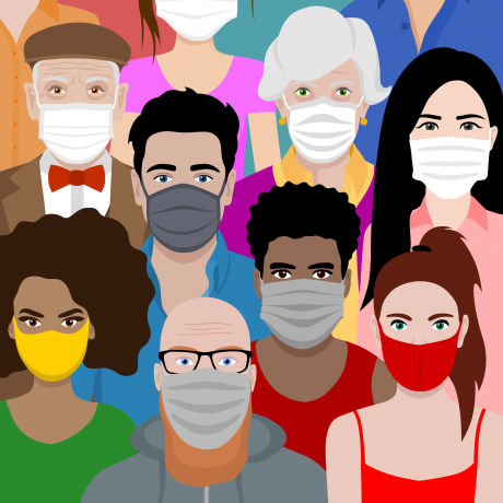 Illustration of diverse people wearing facemasks