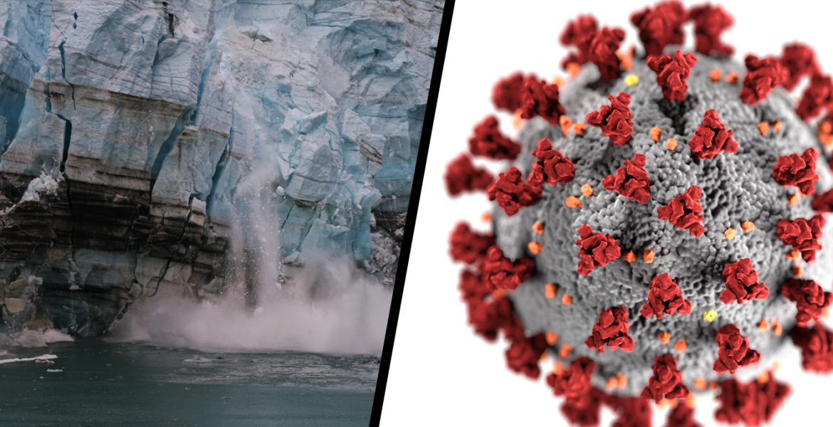 Left image: A calving glacier. Witness to global warming.  Right image: COVID19 virus image